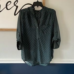 Maurices Sheer Tunic Blouse 3/4 Sleeves Large